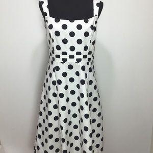 Merona White A-line Dress w/ Black Polka-dots 14